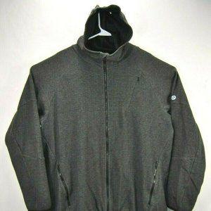 Elite Mens Jacket 2XL Hooded Gray Fleece Full Zip